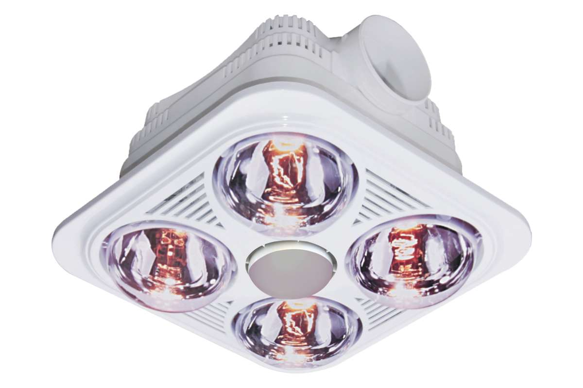 4 Light Square Ceiling Bathroom Heater, Heater And Light For Bathroom